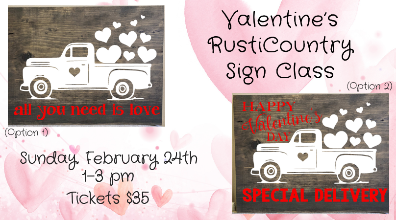 Valentines Wooden Sign Class